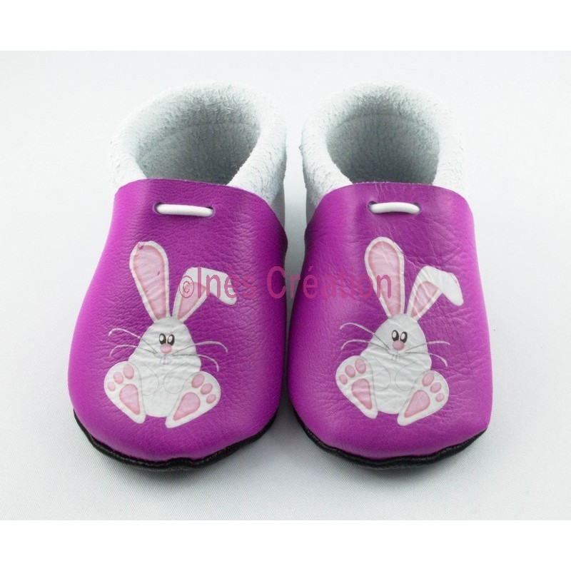 chaussons b b en cuir souple lapin blanc in s cr ation. Black Bedroom Furniture Sets. Home Design Ideas