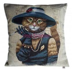 Housse de coussin chatte élégante