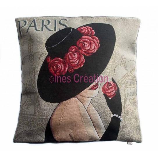 Housse de coussin Jacquard Paris