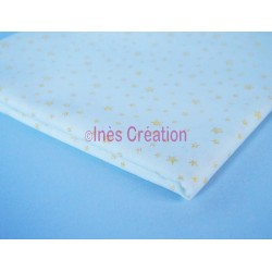 Coupon de tissu 50x48 cm 100% coton Etoile Dorée Blanc