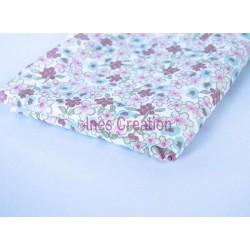 Coupon de tissu 50x48 cm 100% coton Lilas Menthe/Rose