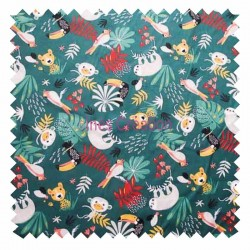 Cotton fabric kidsold by metre Papaya Animals Oeko-tex