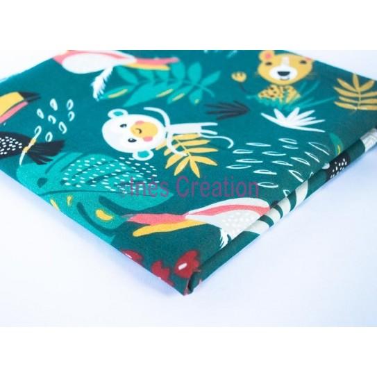 Coupon de tissu 50x48 cm 100% coton Papaya Animaux