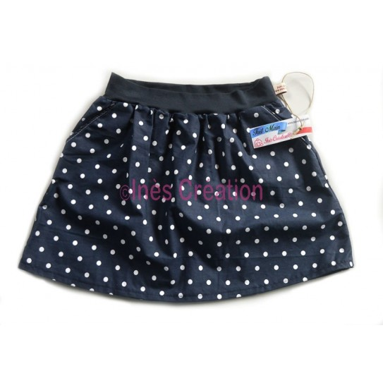 Skirt child Poppins Marine Pois Blanc for 4 to 10 years