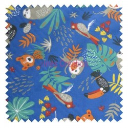 Cotton fabric sold by metre Papaya Blue Jungle Oeko-tex