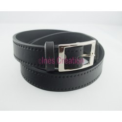 "Black leather belt smooth 1,2"" rectangle buckle"