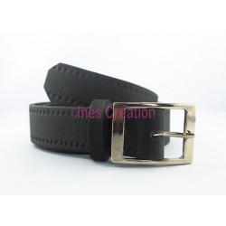 "Black leather belt grained 1,2"" rectangle buckle"