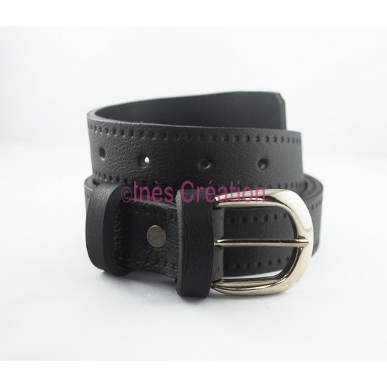 """Black leather belt grained 1,2"""" buckle rounded"""