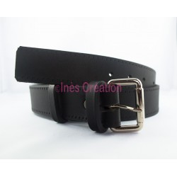 "Black leather belt smooth 1,4"" rectangle buckle"