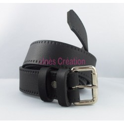 "Black leather belt grained 1,4"" rectangle buckle"