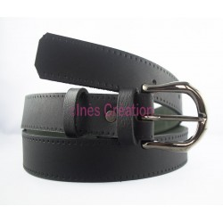 "Black leather belt smooth 1,4"" rounded buckle"