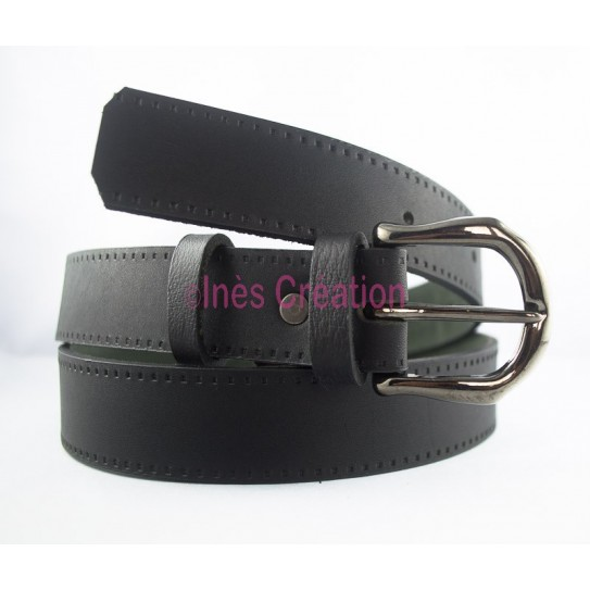 "Black leather belt 1,4"" rounded buckle"