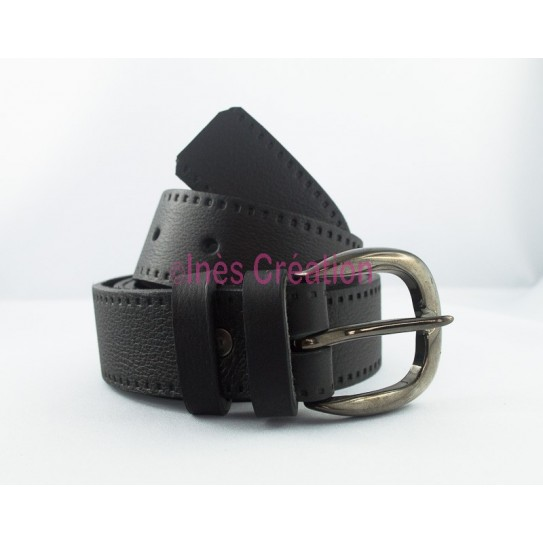 """Black leather belt grained 1,4"""" rounded buckle"""