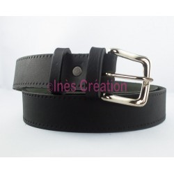 "Black leather belt smooth 1,4"" square buckle"