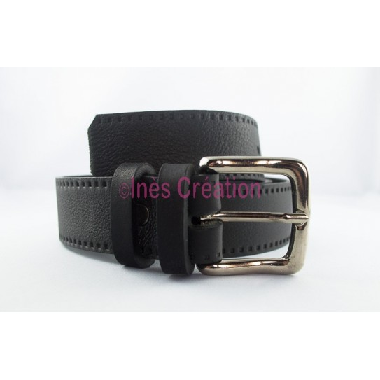 "Black leather belt grained 1,4"" square buckle"