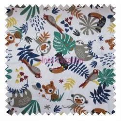 Tissu coton vendu au mètre Payadi Blanc Jungle Oeko-tex