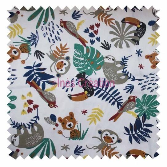 Cotton fabric sold by metre Papaya Blue Jungle Oeko-tex