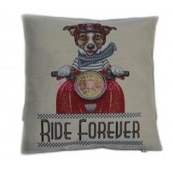 Cushion cover retro dog Ride Forever