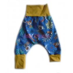 Sarouel Papaya bleu en coton Oeko-Tex
