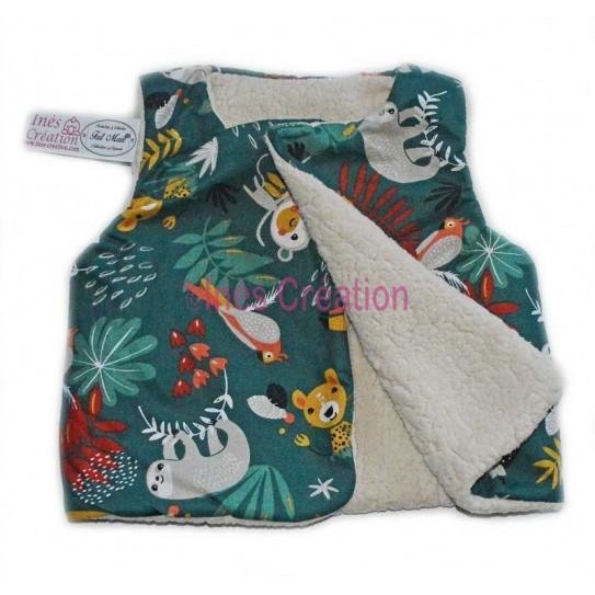 """Cardigan shepherd baby and child in cotton fabric """"Papaya Vert"""" and sherpa"""
