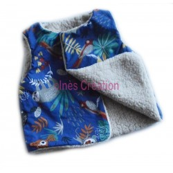 "Cardigan shepherd baby and child in cotton fabric ""Papaya Blue"" and sherpa"
