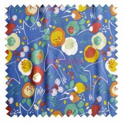 Viscose fabric sold by metre Kibird Blue Oeko-tex