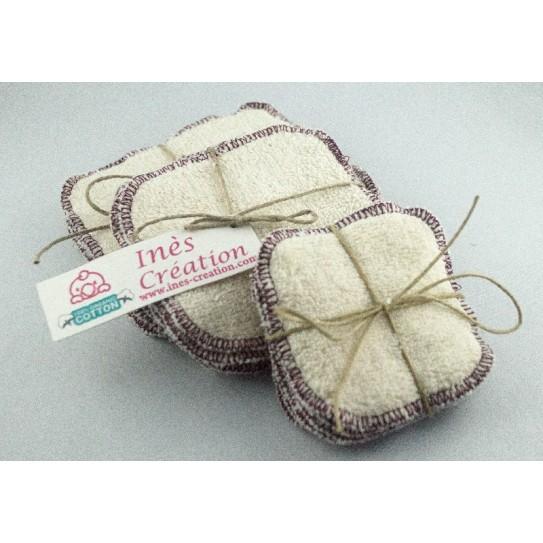Lingettes Lavables Aubergine en coton 100% biologique