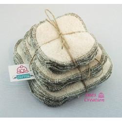 Lingettes Lavables Kaki en coton 100% biologique