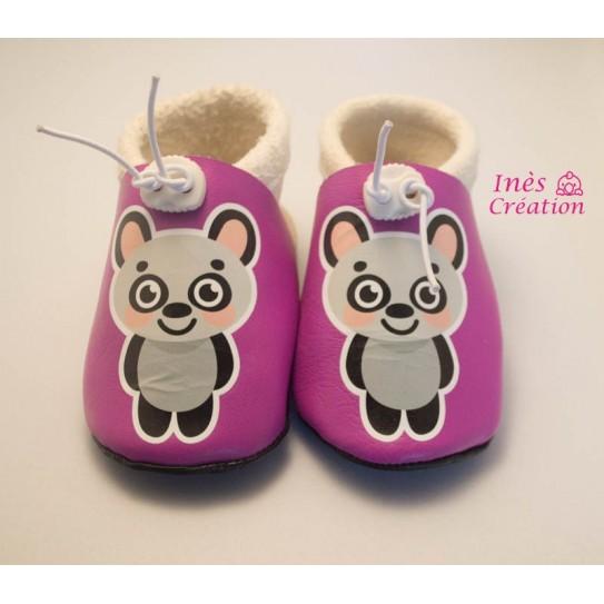 Chaussons bébé en cuir souple Panda Rose