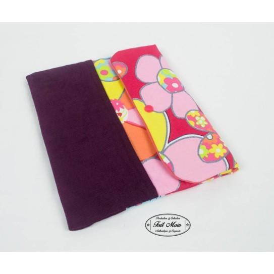 """Housse tablette 10"""" velours aubergine et fleurs multicolores"""