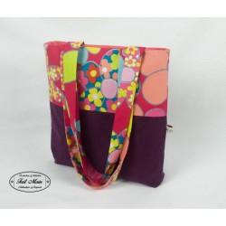 Sac cabas tote bag velours aubergine et fleurs multicolores
