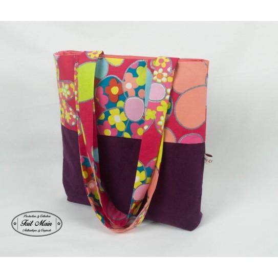 Shopping bag velours aubergine et fleurs multicolores