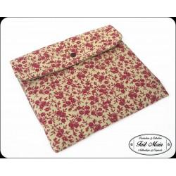 """Housse tablette 10"""" tissu et toile coton fleurs bordeaux"""