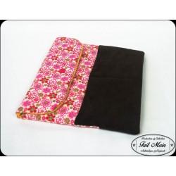Wallet / card wallet velours aubergine et fleurs multicolores