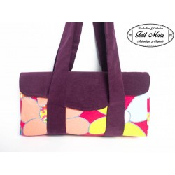 Shopping bag velours aubergine et fleurs multicolores