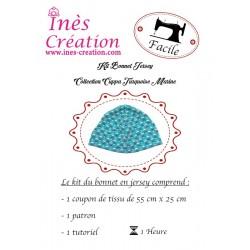 Kit Bonnet Jersey Collection Cuppa Turquoise/Marine de la naissance à 18 mois