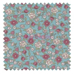 Tissu en Coton vendu au mètre Sarina Menthe/Rose Oeko-Tex