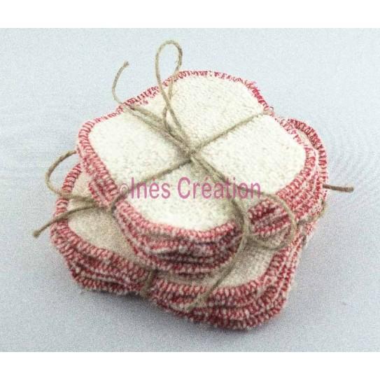 Lingettes Lavables Rouge en coton 100% biologique