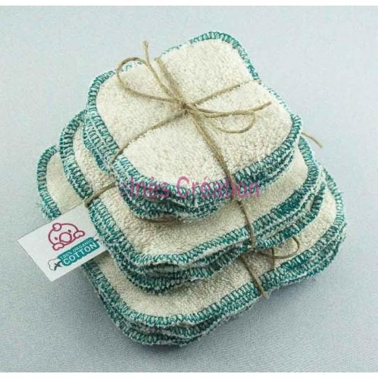 Lingettes Lavables Turquoise en coton 100% biologique
