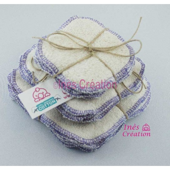 Lingettes Lavables Parme en coton 100% biologique