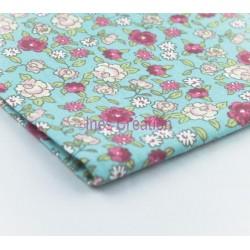Tissu Sarina Menthe Rose à partir de 10 cm Coton Oeko-Tex