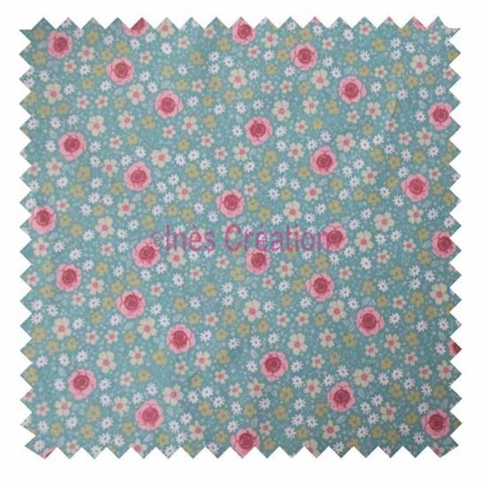 Tissu coton vendu au mètre Anisley Menthe/Rose Oeko-tex