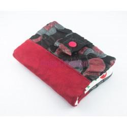 Portefeuille/Porte-cartes en Cuir Noir/Rouge