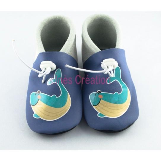 Chaussons bébé en cuir souple Baleine