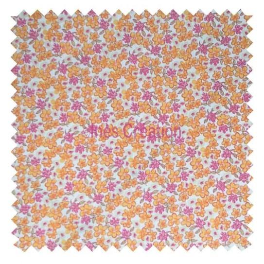 Tissu en coton vendu au mètre Lilas Orange Oeko-tex