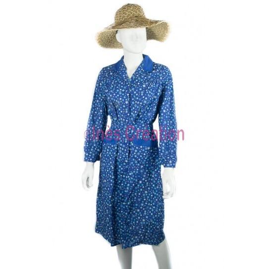 Blouse robe bleue carré