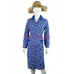 Blouse robe fleurs violettes et bleues
