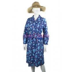 Blouse robe bleue à fleurs