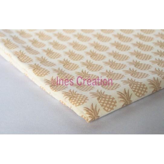 Coupon de tissu 50x50 cm 100% coton Ananas Doré
