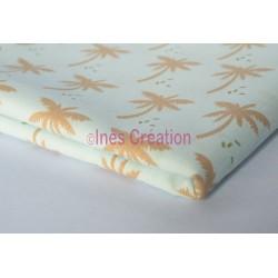Coupon de tissu 50x50 cm 100% coton Palmier Doré Célédon